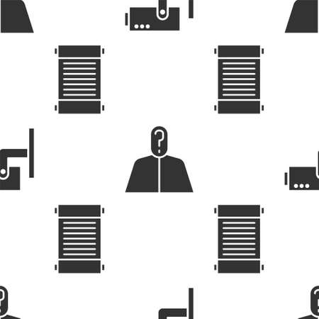 Set Security camera, Anonymous with question mark and Decree, paper, parchment, scroll on seamless pattern. Vector