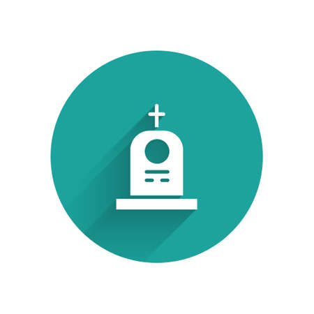 White Grave with tombstone icon isolated with long shadow. Green circle button. Vector