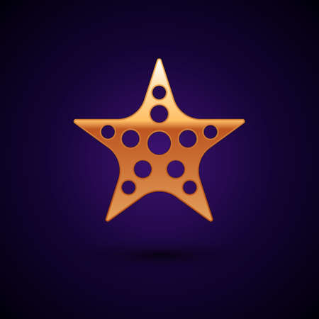 Gold Starfish icon isolated on black background. Vector