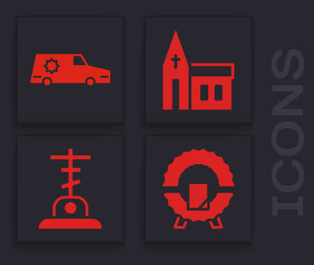 Set Memorial wreath, Hearse car, Church building and Grave with cross icon. Vector