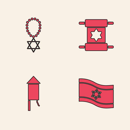 Set Flag of Israel, Star David necklace on chain, Torah scroll and Firework rocket icon. Vector