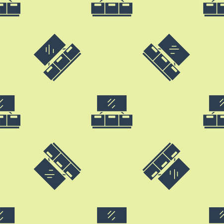 Blue TV table stand icon isolated seamless pattern on yellow background. Vector