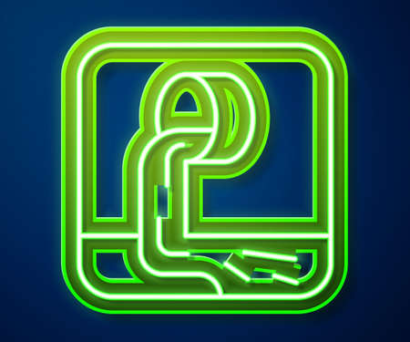 Glowing neon line Wastewater icon isolated on blue background. Sewer pipe. From the pipe flowing liquid into the river. Vector