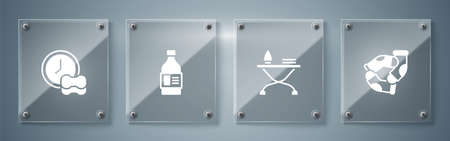 Set Socks, Iron and ironing board, Bottle for cleaning agent and Washing dishes. Square glass panels. Vector Vektorové ilustrace