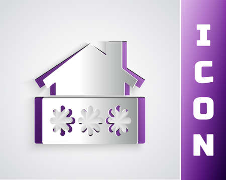 Paper cut House with password notification icon isolated on grey background. The concept of the house turnkey. Paper art style. Vector