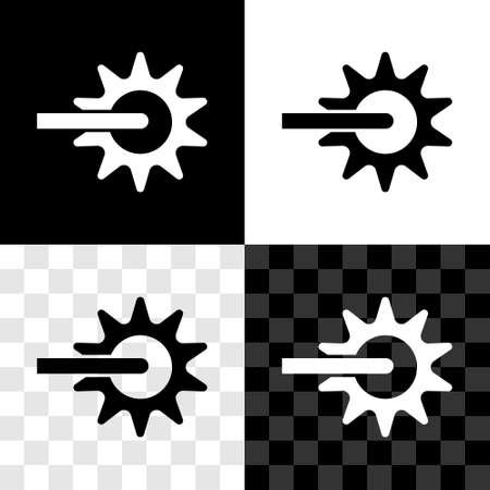 Set Cowboy horse riding spur for boot icon isolated on black and white, transparent background. Vector
