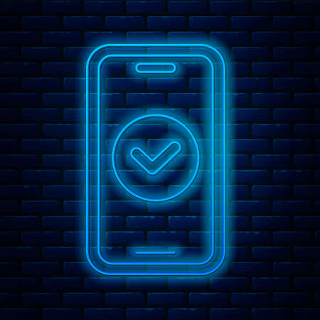 Glowing neon line Smartphone, mobile phone icon isolated on brick wall background. Vector