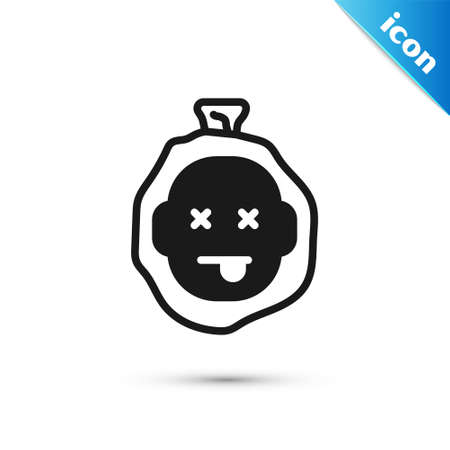 Grey Murder icon isolated on white background. Body, bleeding, corpse, bleeding icon. Dead head. Concept of crime scene. Vector
