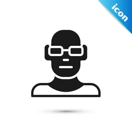 Grey Poor eyesight and corrected vision with optical glasses icon isolated on white background. Vector