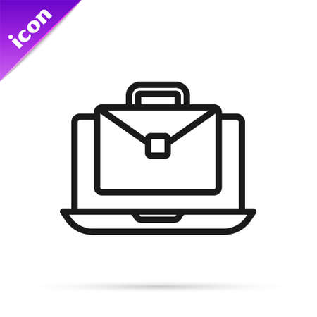 Black line Online working icon isolated on white background.  Remote work. Distant job concept. Vector  イラスト・ベクター素材