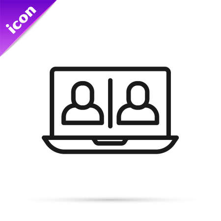 Black line Video chat conference icon isolated on white background. Online meeting work form home. Remote project management. Vector