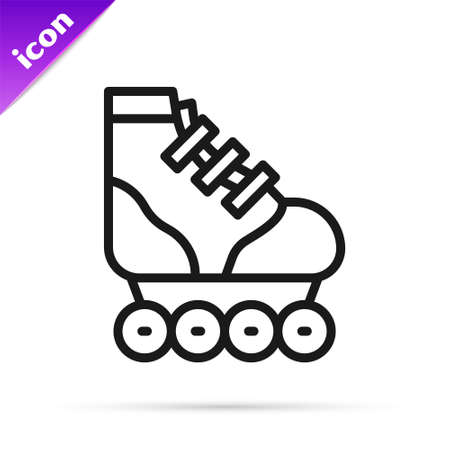 Black line Roller skate icon isolated on white background. Vector