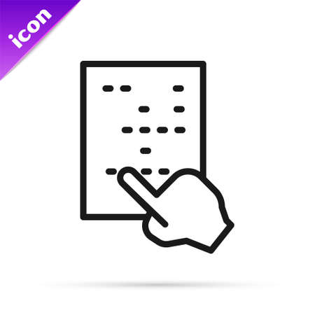 Black line Braille icon isolated on white background. Finger drives on points. Writing signs system for blind or visually impaired people. Vector Vector Illustratie