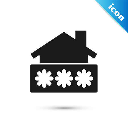 Grey House with password notification icon isolated on white background. The concept of the house turnkey. Vector