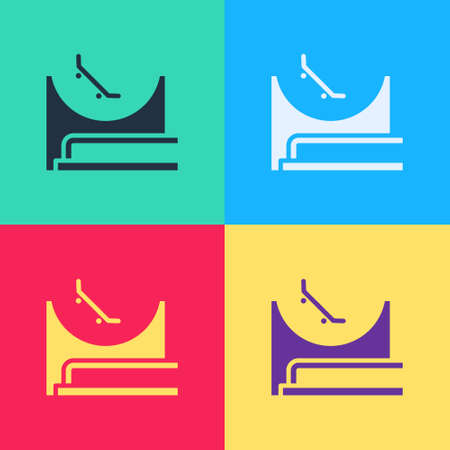 Pop art Skate park icon isolated on color background. Set of ramp, roller, stairs for a skatepark. Extreme sport. Vector