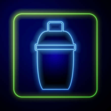 Glowing neon Cocktail shaker icon isolated on blue background. Vector
