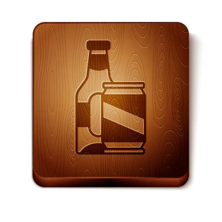 Brown Beer bottle and beer can icon isolated on white background. Wooden square button. Vector