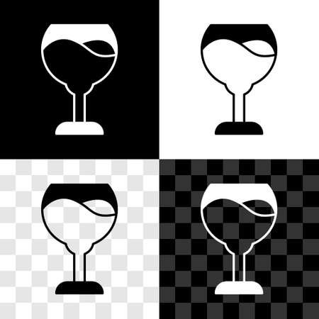 Set Wine glass icon isolated on black and white, transparent background. Wineglass sign. Vector  イラスト・ベクター素材