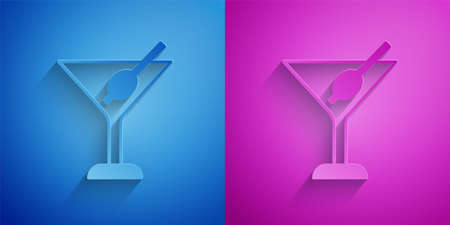 Paper cut Martini glass icon isolated on blue and purple background. Cocktail icon. Wine glass icon. Paper art style. Vector