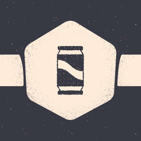 Grunge Beer can icon isolated on grey background. Monochrome vintage drawing. Vector  イラスト・ベクター素材