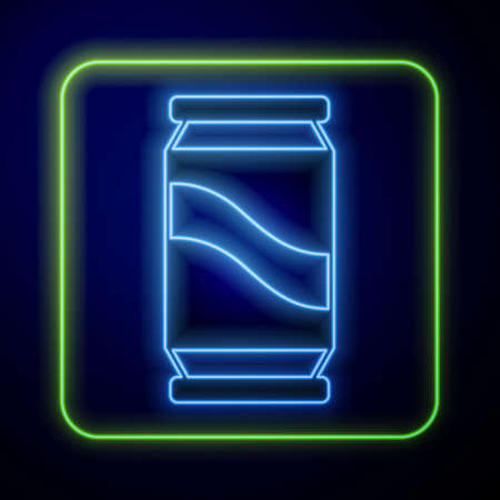 Glowing neon Beer can icon isolated on blue background. Vector  イラスト・ベクター素材