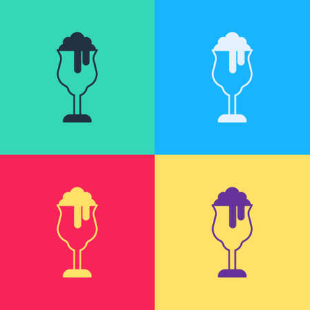Pop art Glass of beer icon isolated on color background. Vector
