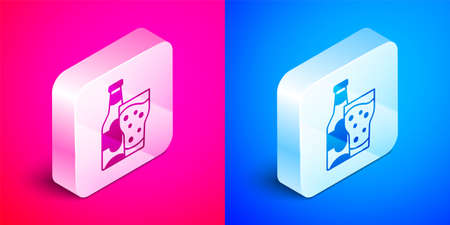 Isometric Beer bottle and glass icon isolated on pink and blue background. Alcohol Drink symbol. Silver square button. Vector  イラスト・ベクター素材