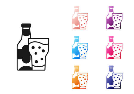 Black Beer bottle and glass icon isolated on white background. Alcohol Drink symbol. Set icons colorful. Vector