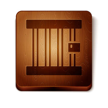 Brown Prison window icon isolated on white background. Wooden square button. Vector