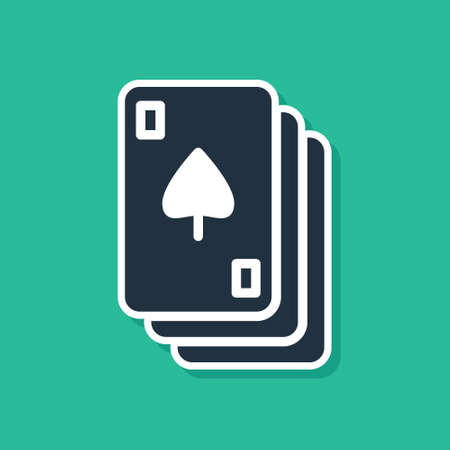 Blue Playing cards icon isolated on green background. Casino gambling. Vector