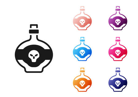 Black Poison in bottle icon isolated on white background. Bottle of poison or poisonous chemical toxin. Set icons colorful. Vector