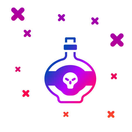 Color Poison in bottle icon isolated on white background. Bottle of poison or poisonous chemical toxin. Gradient random dynamic shapes. Vector  イラスト・ベクター素材
