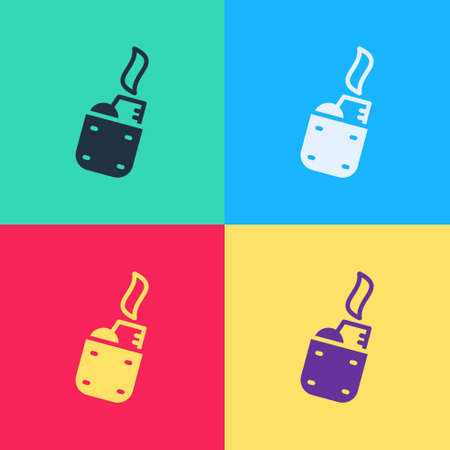 Pop art Lighter icon isolated on color background. Vector