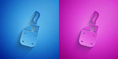 Paper cut Lighter icon isolated on blue and purple background. Paper art style. Vector  イラスト・ベクター素材