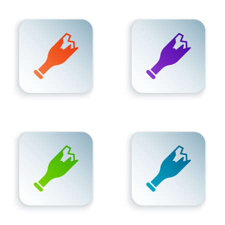 Color Broken bottle as weapon icon isolated on white background. Set colorful icons in square buttons. Vector
