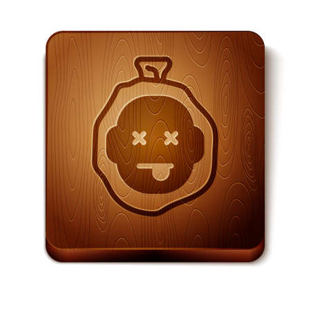 Brown Murder icon isolated on white background. Body, bleeding, corpse, bleeding icon. Dead head. Concept of crime scene. Wooden square button. Vector  イラスト・ベクター素材