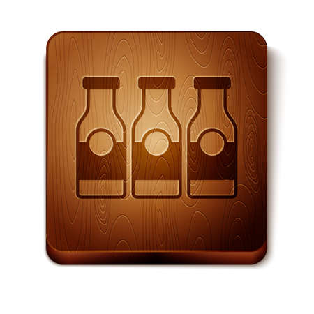 Brown Closed glass bottle with milk icon isolated on white background. Wooden square button. Vector