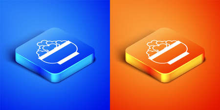Isometric Cottage cheese icon isolated on blue and orange background. Essential vitamins and minerals in healthy food. Medical, healthcare and dietary concept. Square button. Vector