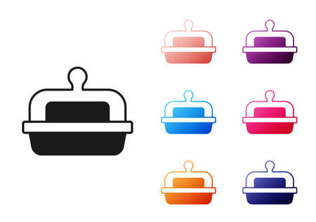 Black Butter in a butter dish icon isolated on white background. Butter brick on plate. Milk based product. Natural dairy product. Set icons colorful. Vector  イラスト・ベクター素材
