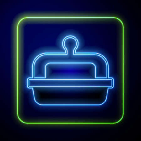 Glowing neon Butter in a butter dish icon isolated on blue background. Butter brick on plate. Milk based product. Natural dairy product. Vector  イラスト・ベクター素材
