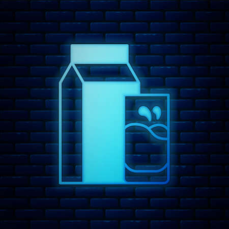 Glowing neon Paper package for kefir and glass icon isolated on brick wall background. Dieting food for healthy lifestyle and probiotics fulfillment. Vector