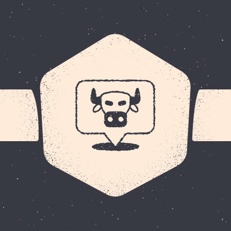 Grunge Cow head icon isolated on grey background. Monochrome vintage drawing. Vector  イラスト・ベクター素材