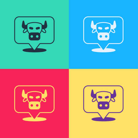 Pop art Cow head icon isolated on color background. Vector
