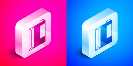 Isometric Paper package for kefir icon isolated on pink and blue background. Dieting food for healthy lifestyle and probiotics fulfillment. Silver square button. Vector