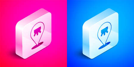 Isometric Udder icon isolated on pink and blue background. Silver square button. Vector