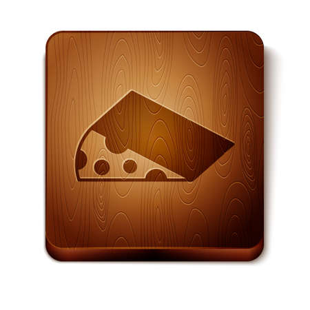 Brown Cheese icon isolated on white background. Wooden square button. Vector  イラスト・ベクター素材