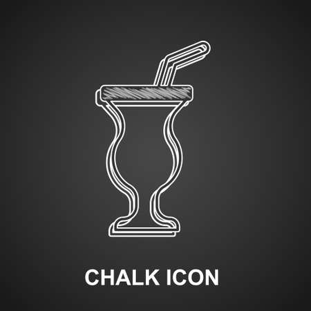 Chalk Milkshake icon isolated on black background. Plastic cup with lid and straw. Vector  イラスト・ベクター素材