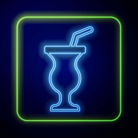 Glowing neon Milkshake icon isolated on blue background. Plastic cup with lid and straw. Vector