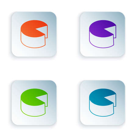 Color Cheese icon isolated on white background. Set colorful icons in square buttons. Vector  イラスト・ベクター素材