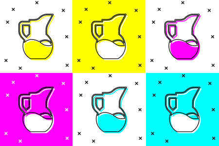 Set Milk jug or pitcher icon isolated on color background. Vector